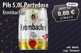 Angebot: Krombacher Pils Partyfass, 5l, Streichpreis: 9,49 Euro, Angebotspreis: 8,88 Euro, inkl. MwSt., zzgl. Versand - zum Bestellen hier klicken.