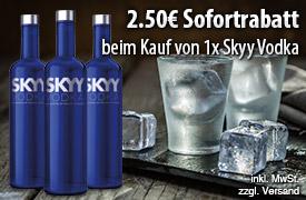 Vorteilskauf: Beim Kauf einer Flasche Skyy Wodka 0,7l erhalten Sie 2,50 Euro Sofortrabatt - zum Bestellen hier klicken