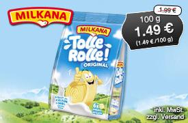 Angebot: Milkana Tolle Rolle Orginal, 100g, Streichpreis: 1,99 Euro, Angebotspreis: 1,49 Euro, inkl. MwSt, zzgl. Versand - zum Bestellen hier klicken.