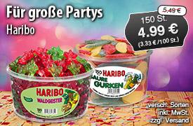 Angebot: Haribo, 150 Stück, Streichpreis 5,49 Euro, Angebotspreis 4,99 Euro, inkl. MwSt., zzgl. Versand  - zum Bestellen hier klicken!