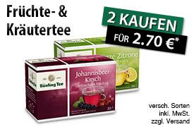 Vorteilskauf: Kaufen Sie 2 Bünting Frucht- oder Kräutertees und zahlen Sie nur 2,70 Euro  - zum Bestellen hier klicken!