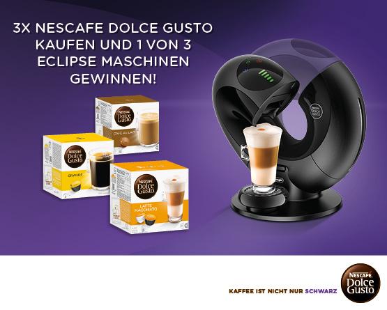 Kaufen Sie 3 Nescafé Dolce Gusto Artikel für nur 13,95 Euro und Sie haben die Chance 1 von 3 De Longhi Eclipse Maschinen zu gewinnen! - zum Bestellen hier klicken!