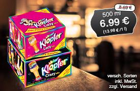 Angebot: Kleiner Klopfer, 500ml, Streichpreis: ab 8,49 Euro, Angebotspreis: 6,99 Euro, inkl. MwSt., zzgl. Versand - zum Bestellen hier klicken.