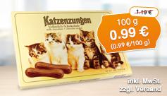 Angebot: Sarotti Katzenzungen Vollmilch, 100g, Streichpreis 1,19 Euro, Angebotspreis 0,99 Euro, zzgl. Versand, inkl. Mwst. - zum Bestellen hier klicken.