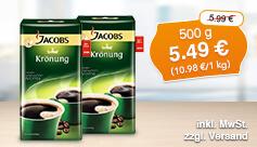 Angebot: Jacobs Krönung gemahlen, 500g, Streichpreis 5,99 Euro, Angebotspreis 5,49 Euro, zzgl. Versand, inkl. Mwst. - zum Bestellen hier klicken.