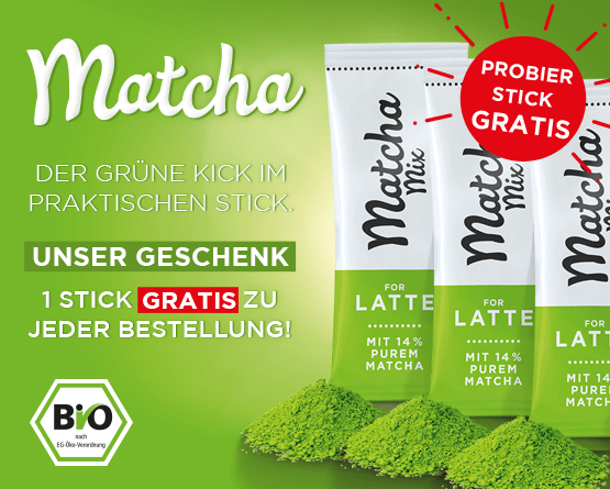 2 Matcha Sticks gratis zu jeder Bestellung!