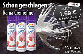 Angebot: Rama Cremefine schon geschlagen, 250ml, Streichpreis: 1,99 Euro, Angebotspreis: 1,69 Euro, inkl. MwSt., zzgl. Versand  - zum Bestellen hier klicken.