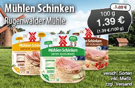 Angebot: Rügenwalder Mühlen Schinken, 100g, Streichpreis: 1,89 Euro, Angebotspreis: 1,39 Euro, inkl. MwSt., zzgl. Versand - zum Bestellen hier klicken.