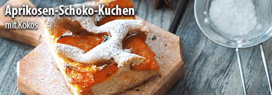 Rezeptempfehlung für Sie: Aprikosen-Schokokuchen mit Kokos - zum Bestellen hier klicken!