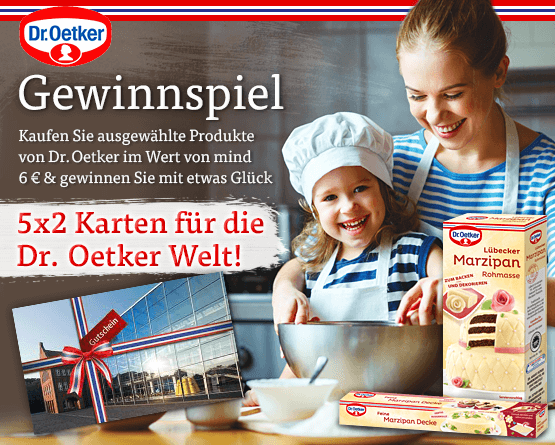 Gewinnspiel: Kaufen Sie ausgewählte Dr. Oetker Artikel im Wert von 6 Euro und Sie können 5x2 Karten für die Dr. Oetker Welt gewinnen  - zum Mitmachen hier klicken.