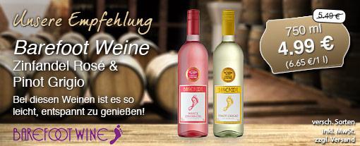 Wein des Monats. Barefoot Pinot Grigio (750 ml) oder Barefoot Zinfandel Rosé (750 ml) zum Preis von 4,99 Euro statt 5,49 Euro, inkl. MwSt., zzgl. Versand