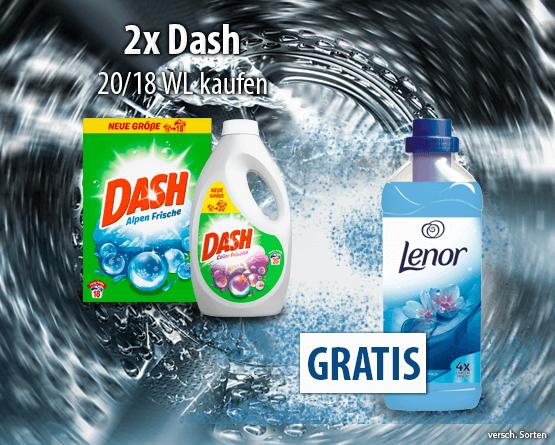 Zugabe: Kaufen Sie 2x Dash und Sie erhalten einen Lenor Weichspüler Aprilfrisch gratis - zum Bestellen hier klicken!