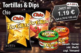 Angebot: Chio Tortillas und Dips, ab 125g, Streichpreis: ab 1,69 Euro, Angebotspreis: ab 1,19 Euro, inkl. MwSt, zzgl. Versand - zum Bestellen hier klicken.