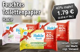 Hakle Feuchtes Toilettenpapier mit 40 Prozent mehr Inhalt, (60 St.),  Preis 1,79 Euro, zzgl. Versand, inkl. MwSt. - zum Bestellen hier klicken