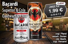 Angebot: Bacardi Superior oder Oakheart mit Cola, verschieden Sorten, 330 ml, Streichpreis: 2,49 Euro, Aktionspreis: 1,99 Euro, inkl. MwSt., zzgl. Versand - zum Bestellen hier klicken!
