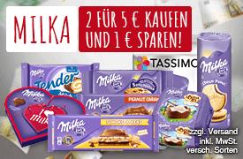 Zugabe: Kaufe mindestens 2 Milka Artikel im Wert von Euro 5,00 und spare Euro 1,00 - zum Bestellen hier klicken.