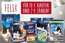 Vorteilskauf: Kaufe Felix Produkte im Wert von Euro 10,00 und spare Euro 2,00  - zum Bestellen hier klicken
