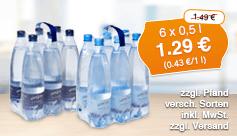 Angebot: Kuestengold Waser, 6 x 0,33 l, Streichpreis 1,49 Euro, Angebotspreis 1,29 Euro, zzgl. Versand, inkl. Mwst. - zum Bestellen hier klicken.