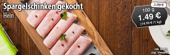 Angebot: Hein Spargelschinken, 100 g, Streichpreis 1,99 Euro, Angebotspreis 1,49 Euro, zzgl. Versand,inkl. MwSt. - zum Bestellen hier klicken