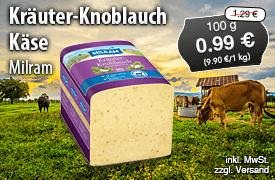 Angebot: Milram Kräuter-Knoblauchkäse, 100 g, Streichpreis 1,29 Euro, Angebotspreis 0,99 Euro, zzgl. Versand,inkl. MwSt. - zum Bestellen hier klicken