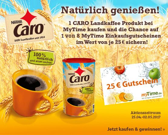 Kaufen Sie 1 Caro Produkt und gewinnen einen von zehn myTime 25 Euro Wertgutscheinen.