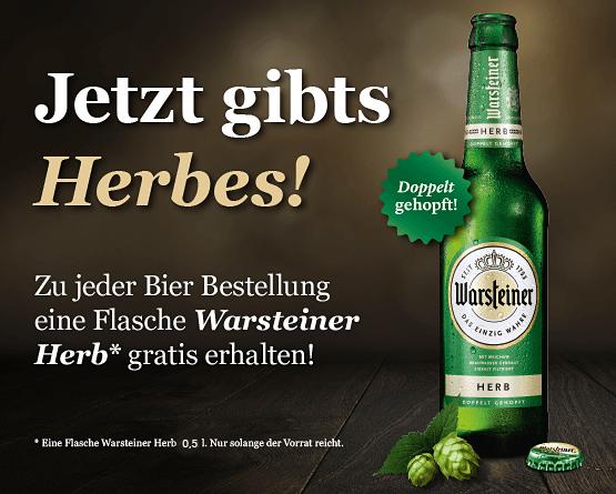 Zu jeder Bestellung von Bier geben wir eine Flasche Warsteiner alkoholfrei gratis dazu - zum Bestellen hier klicken!