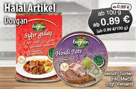 Neue Halal Artikel der Marke Dovgan kennenlernen  - zum Bestellen hier klicken!