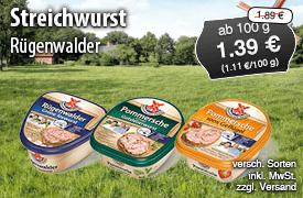 Angebot: Rügenwalder Streichwurst, 125g, Streichpreis 1,89?, Angebotspreis 1,39? - zum Bestellen hier klicken!