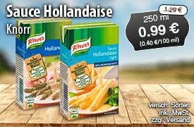 Angebot: Knorr Sauce Hollandaise (250 ml), Streichpreis 1,29 Euro, Angebotspreis 0,99 Euro, zzgl. Versand, zzgl. Pfand, inkl. MwSt. - zum Bestellen hier klicken
