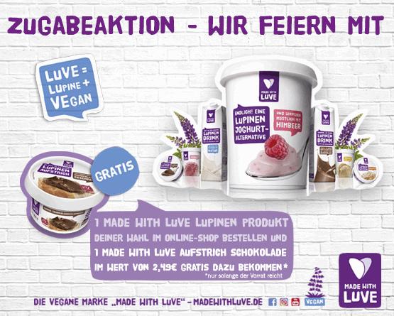 Made with Luve: Kaufe eine MAde with Luve Produkt und erhalte einen MAde with Luve Schokoaufstrich gratis dazu.