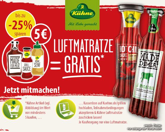 Kuehne Grillartikel im Wert von 5 Euro kaufen und eine Luftmatratze gratis erhalten - zum Bestellen hier klicken.