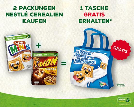 Beim Kauf von zwei Nestle Cerealien erhalten Sie eine Tasche gratis - zum Bestellen hier klicken!