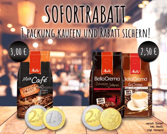 Kaufe Sie einmal Melitta Bella Crema und sparen Sie 2,50 Euro. Kaufen Sie einmal Melitta Mein Cafe und sparen Sie 3 Euro - zum Bestellen hier klicken