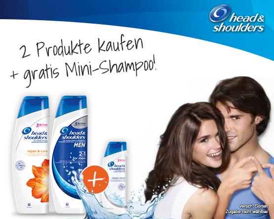 Kaufen Sie zwei mal Head & Shoulders und Sie erhalten ein Mini Shampoo gratis - zum Bestellen hier klicken.