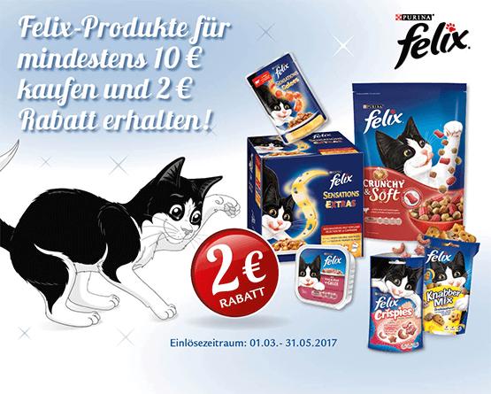 Kaufen Sie Felix Produkte im Wert von 1 Euro und Sie sparen 2 Euro - zum Bestellen hier klicken!