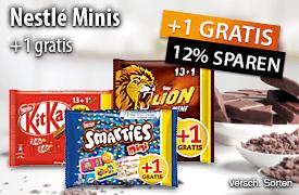 Angebot: Nestlé Minis + 1 gratis, Streichpreis: 2,49 Euro, Angebotspreis: 2,19 Euro, inkl. MwSt., zzgl. Versand - zum Bestellen hier klicken