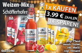 Beim Kauf eines Sixpacks Schöfferhofer Weizen-Mix erhalten Sie 1 Euro Sofortrabatt  - zum Bestellen hier klicken.