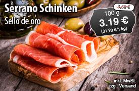 Angebot: Sello de oro Serrano Schinken Segovia, 1kg, Streichpreis 35,90 Euro, Angebotspreis 31,90 Euro, zzgl. Versand, inkl. MwSt. - zum Bestellen hier klicken