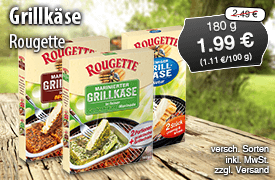 Angebot: Rougette Grillkäse, 180g, Streichpreis: 2,49 Euro, Angebotspreis: 1,99 Euro, inkl. MwSt., zzgl. Versand  - zum Bestellen hier klicken