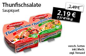 Angebot: Saupiquet Thunfischsalat, 160 g, Streichpreis 2,49 Euro, Angebotspreis 2,19 Euro, zzgl. Versand,inkl. MwSt. - zum Bestellen hier klicken