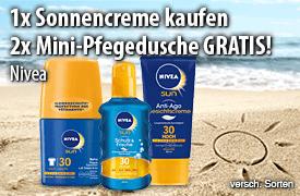 Kaufen Sie eine Nivea Sonnencreme und Sie erhalten 2 Mini Pflegeduschen von  Nivea gratis dazu  - zum Bestellen hier klicken