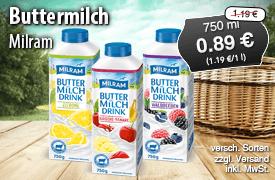 Angebot: Milram Buttermilch, 750g, Streichpreis: 1,19 Euro, Angebotspreis: 0,89 Euro, inkl. MwSt., zzgl. Versand - zum Bestellen hier klicken