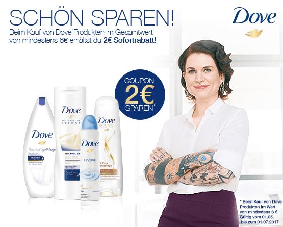 Beim Kauf von mindestens 2 Dove Artikeln im Wert von mindestens 6 Euro erhalten Sie 2 Euro Sofortrabatt - zum Bestellen hier klicken!