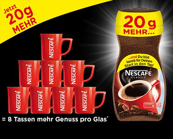 Nescafé Classic mit 20g mehr Inhalt - zum Bestellen hier klicken.