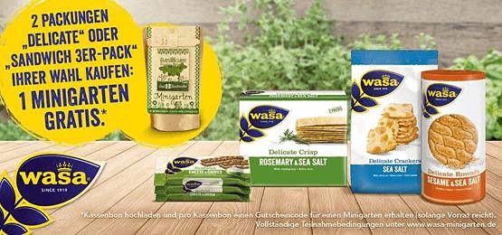 Kaufen Sie 2 Packungen Wasa Delicate oder Wasa Sandwich 3er Pack und Sie erhalten einen Minigarten gratis - zum Bestellen hier klicken!