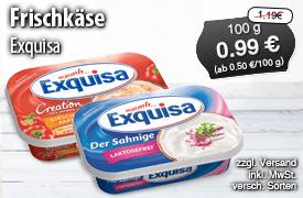 Angebot: Exquisa Frischkäse, an 175g, Streichpreis: 1,19 Euro, Angebotspreis: 0,99 Euro, inkl. MwSt., zzgl. Versand - zum Bestellen hier klicken