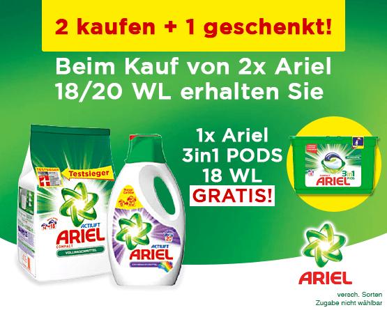 Kaufen Sie 2x Ariel und Sie erhalten ein Ariel 3in1 Pods geschenkt - zum Bestellen hier klicken!