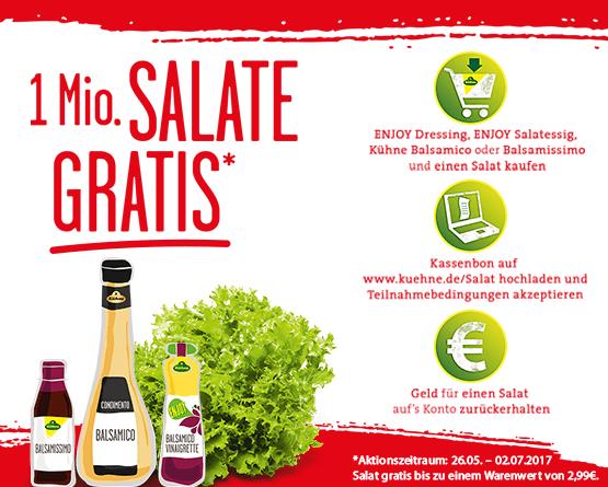 Beim Kauf eines Kühne Artikels (Enjoy Dressing, Enjoy Salatessig, Kühne Balsamico, Balsamissimo) erhalten Sie einen Salat im Wert bis 2,99 Euro gratis - zum Bestellen hier klicken!
