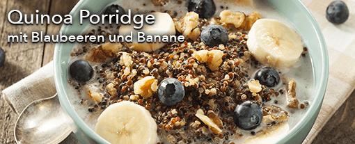 Quinoa Porrdige mit Blaubeeren und Banane