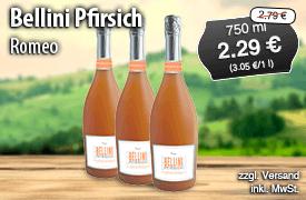 Romeo Bellini Pfirsich, 750ml, Streichpreis: 2,79 Euro, Angebotspreis: 2,29 Euro, inkl. MwSt., zzgl. Versand - zum Bestellen hier klicken!
